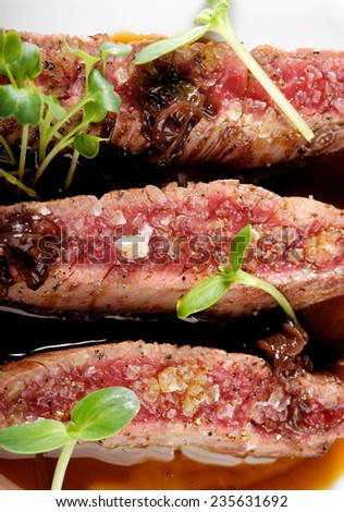 Fine dining, Angus Beef Steak fillets with Roasted tomato/Pepper Sauce - stock photo