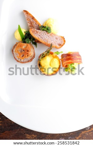 Fine dining, Gourmet food ham egg bread - stock photo