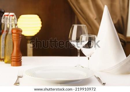 Fine dining restaurant. Dinner table place setting/Restaurant  - stock photo