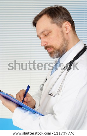 Fine doctor is receiving visitors in his office