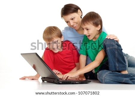 Fine family in bright T-shirts on a white background