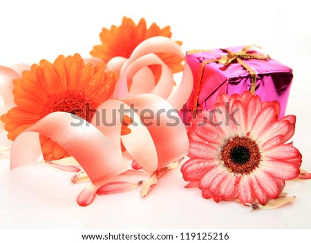 Fine flowers and boxes with gifts