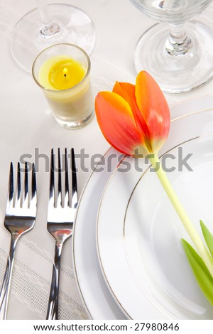 Fine food and wine spring table settings with fresh tulips - stock photo