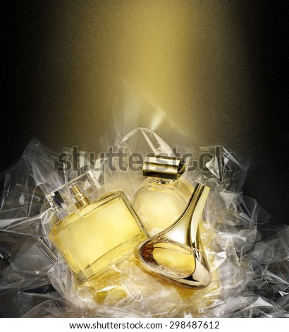 Fine fragrances in a concept gift set. Christmas fantasy environment. Stardust effect - stock photo