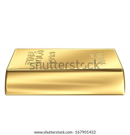 Fine Gold bank bar isolated on white background - stock photo