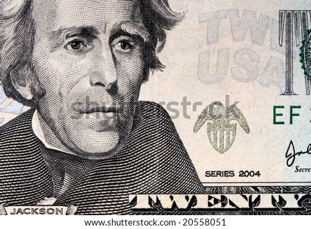 fine image closeup image of 20 usa dollar