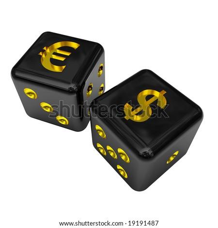 fine image 3d of isolated black money dice - stock photo