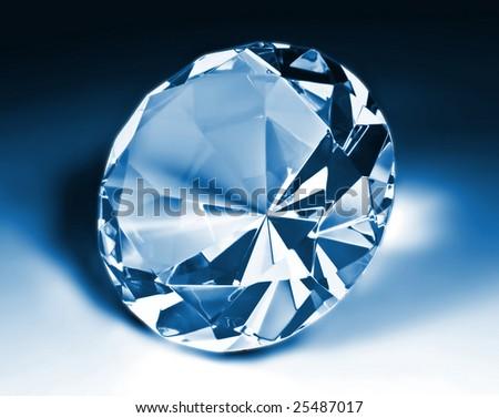 fine image of blue diamond classic cut - stock photo