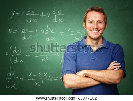 fine image of young caucasian teacher at school