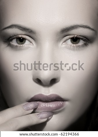 Fine  portrait of a young beautiful woman - stock photo