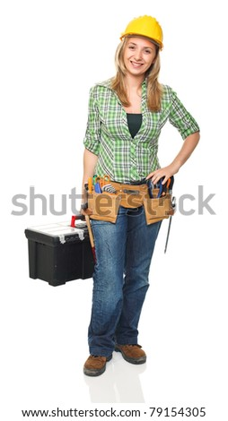 fine portrait of female manual worker with toolbox