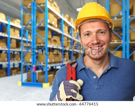 fine portrait of labor and 3d warehouse background - stock photo