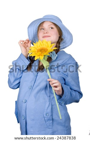 fine pregnant woman in blue holding sunflower on white background - stock photo