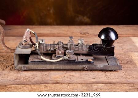 Fine specimen of a real antique morse code telegraph machine - stock photo
