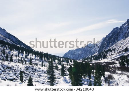 fine weather in winter mountains