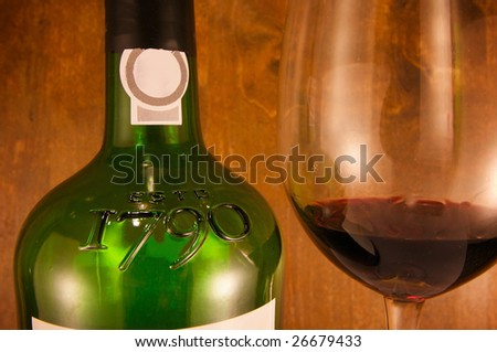 Fine wine bottle and glass