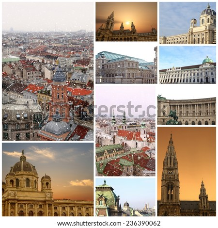 Fine winter photography collage Vienna Austria - stock photo