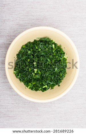 finely chopped green onions , dill seasoning . country style - stock photo