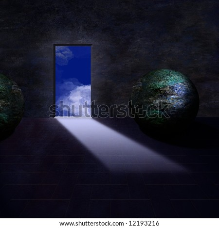 Finely painted room, door opens to sky - stock photo