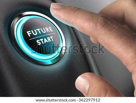 Finger about to press future button with blue light over black and grey background. Concept image for illustration of change or strategic vision. - stock photo