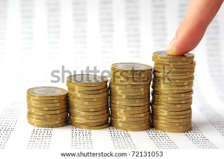 Finger and money staircase isolated on background with numbers