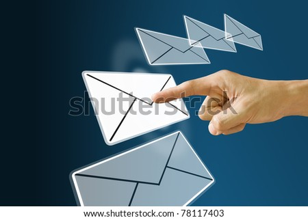 Finger choose and pushing the mail icon - stock photo