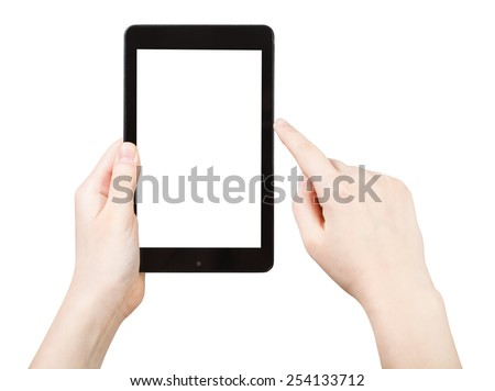 finger clicking touchpad with cut out screen isolated on white background - stock photo