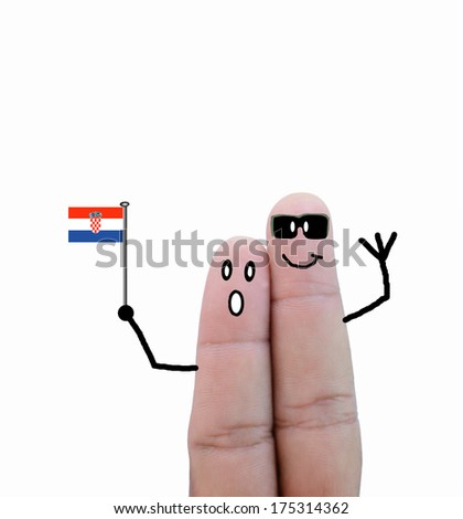 finger concept couple cheer with flag