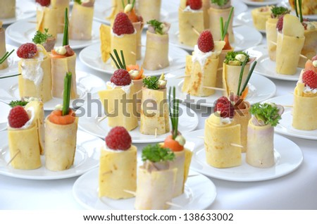 Finger-food at catered event - stock photo