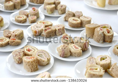 Finger food at catered event - stock photo