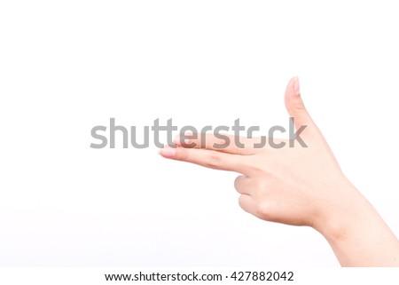 finger hand symbols isolated concept aim pointing gun hand killer on white background - stock photo
