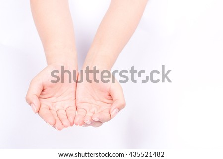 finger hand symbols isolated concept join two cupped hands and open hands hopefully  keeping on white background  - stock photo