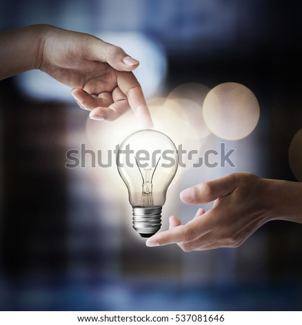 Finger lamp, energy-saving concept.