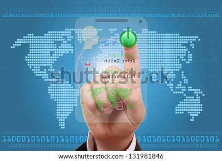 Finger on the switch button , for secure Internet - stock photo