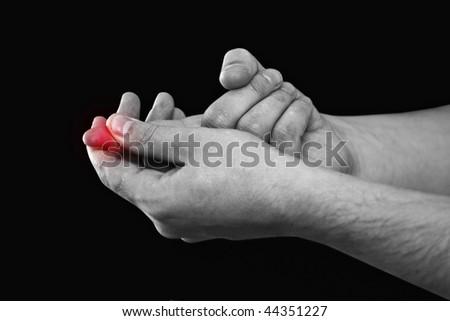 Finger pain - stock photo
