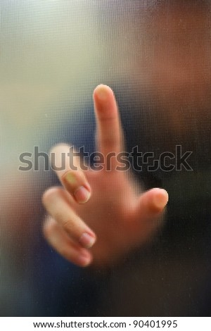 finger point as blur motion background - stock photo