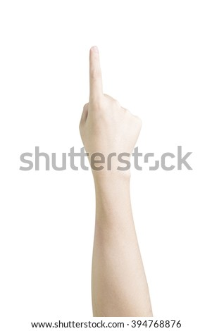 finger point . isolated on white background with clipping path - stock photo