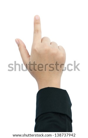 finger point isolated white background - stock photo