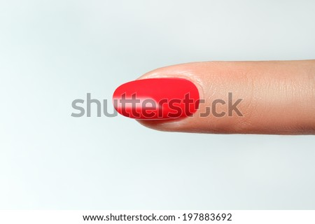 finger point isolated white background with nail polish - stock photo