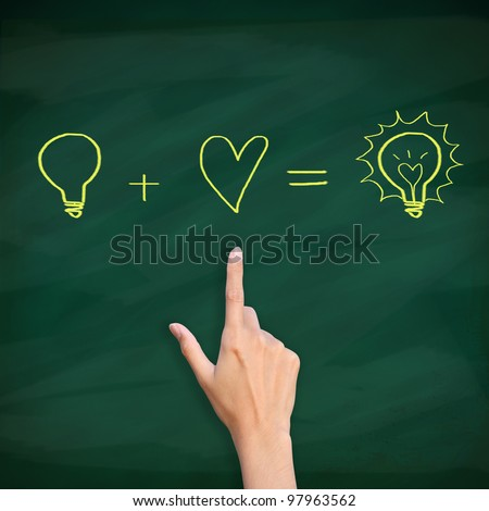 finger point to light bulb drawn on blackboard - stock photo
