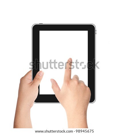Finger pointing at tablet PC with white screen isolated on white background
