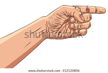 Finger pointing hand, detailed illustration, hand sign. - stock photo