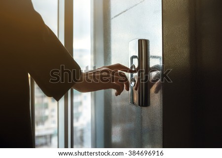 Finger Pressing Doorbell Sunny Apartment Building Stock Photo ...