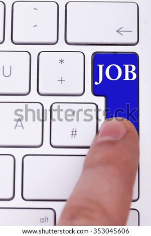 Finger pressing on blue apply now button. Job oportunity