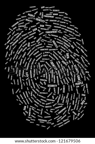 Finger print in word collage - stock photo