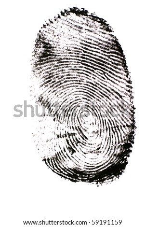 Finger print isolated on the white background - stock photo