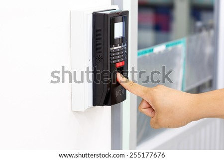Finger print scan for unlock door security system  - stock photo