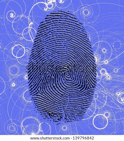 Finger print with Atomic particles - stock photo