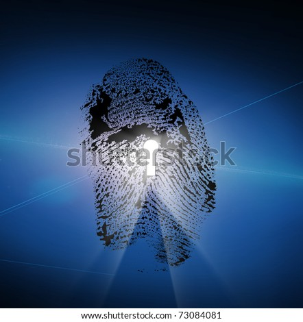 Finger Print with Keyhole - stock photo