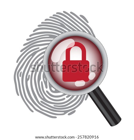 finger print with magnifying glass and lock  - stock photo